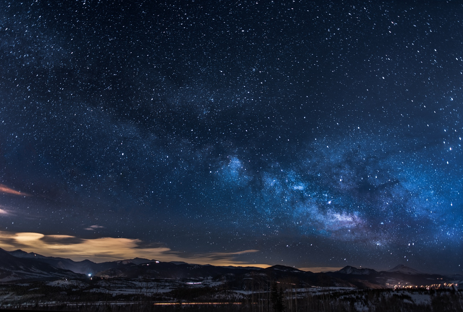 Mountains with Trees Under White Star At Night by Nathan-Anderson