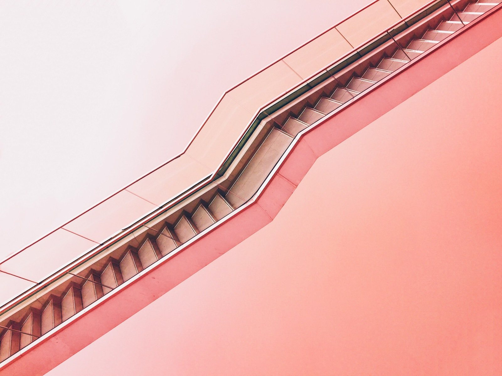 White Staircase with Pink Background by Max-Ostrozhinskiy